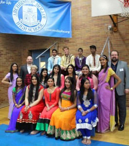 President Richard Karsten '81 and Principal Darius Penikas with students at International Day