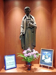 St. Marcellin Champagnat statue display outside Molloy's chapel.