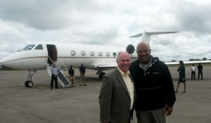 Gianni Iurassich '80, left, with Major General Darryl Williams in Cameroon, Africa