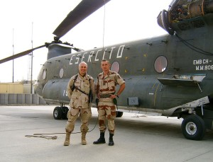 Gianni with Major Mafei of the French Army at the Kabul, Afghanistan Airport in 2005