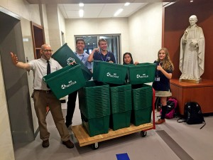 Mr. Dougherty and I A.M. Green club with Molloy's new recycling bins.