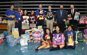 Campus Ministry with some of the 851 toys donated for children in need.