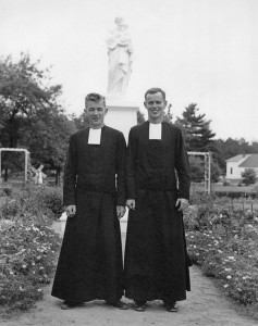 Brother Patrick Lally (left), age 21, with Brother Kevin Reynolds in Tyngsboro, MA, 1956. Marist Brothers Novitiate.